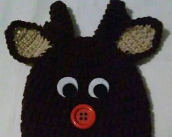 Crochet Rudolph the red nose reindeer hat, infant size, crochet baby hat, Christmas hat, reindeer hat, Rudolph reindeer hat, crochet newborn