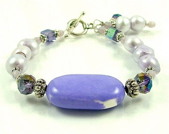 GRANDES DÉMARQUES - précieuse Howlite violet, perle et Bracelet en Perles cristal avec Dangles