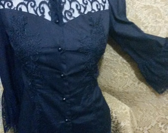 UNUSUAL GOTHIC BLOUSE size 14Uk fishtail back corset backed tie lace high neck Victorian gorgeous blouse