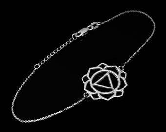 Silver Manipura (Confidence) Chakra White Lotus Yoga Bracelet