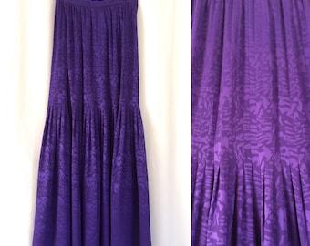 "Oscar de la Renta Purple Silk Maxi Skirt 28""W"