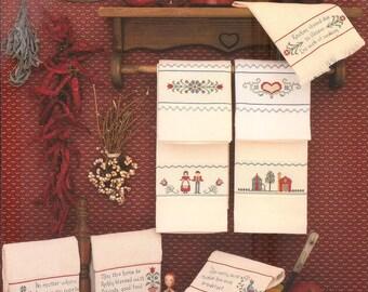 Folk Art Towels Leaflet #34 For Kitchen and Bath - Designs by Harriette Tew - Hudspot House
