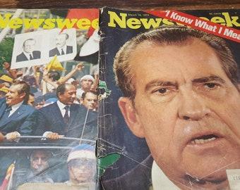 2 Vintage Newsweek Magazines, 1974 READ DESCRIPTIONS,  vintage magazines
