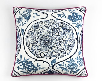 Schumacher Katsugi Pillows with welting (shown in Blue with Fuchsia Welting-comes in 8 colors)