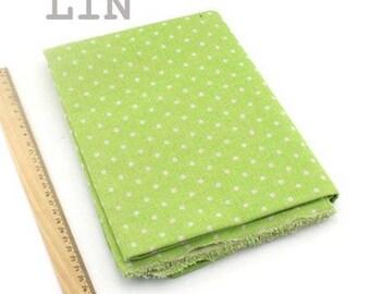 1 x coupon fabric 50x145cm Apple green dot pattern pure linen