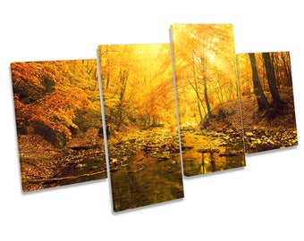 Sunset Forest River Landscape CANVAS WALL ART Four Panel Print