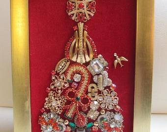 Jeweled Framed Jewelry Art Christmas Tree Red Gold Vintage Rhinestone Candycane