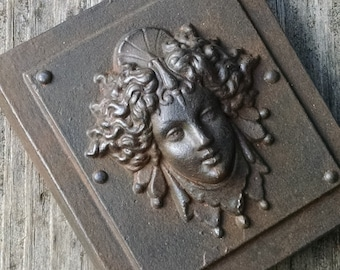 Luna in a Weathered Iron finish,  classical architectural bronze detail, womens face, repro victorian paperweight, Cast Shadows Studio