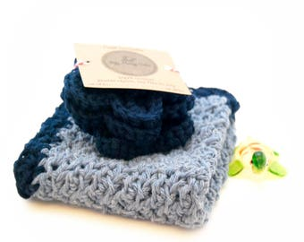 Crochet Star Flower Face Scrubbers Gift Set, Facial Pads, Makeup Remover Pads, Navy Blue, Housewarming, Gifts For Her, Gifts For Mom