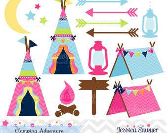 INSTANT DOWNLOAD, glamping clipart, for camping party, commercial use, personal use