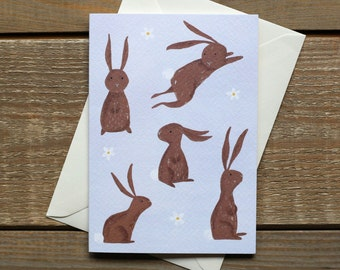 Cute Easter Bunnies Hand Illustrated Greeting Card