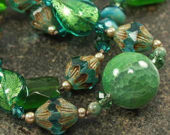 One of a Kind Necklace Teal Green Turquoise Necklace Bold Chunky Bohemian Jewelry