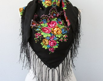 Russian shawl babushka scarf vintage style soviet scarves for women fall fashion boho outfit black fringe shawl valentines day gift for her