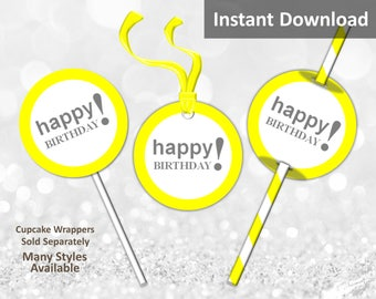 Yellow Happy Birthday Cupcake Toppers, Favor Tags or Straw Flags, Instant Download, Party Decorations