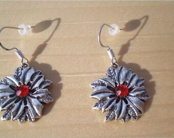 Poinesettia Earrings, Christmas Earrings, Charm Earrings, Jewelry Findings