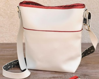Sparkly red and white bucket handbag