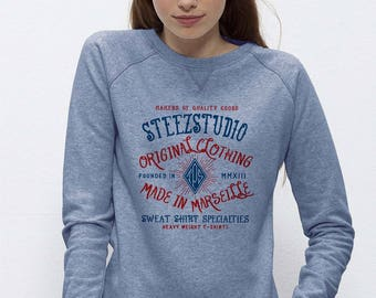 Organic cotton women Sweatshirt fair blue clear neck mottled large Old School Trips 130 comfort
