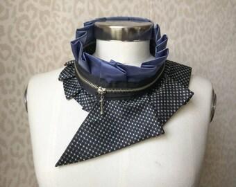 Collier femme, collier de fermeture éclair, collier plastron soie, accessoire féminin, accessoire de style, véritable accessoire #246