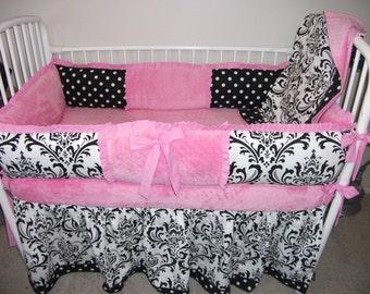 Baby bedding Baby girl Crib Sets Pink and black damask full set