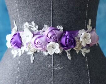 Custom Made Purple and Ivory Bridal Belt Wedding Sash Accented with Bling, Purple flower wedding dress sash belt