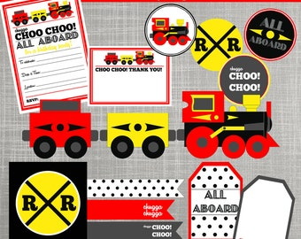 Train Birthday Party Decorations - Train Baby Shower Decorations - PRINTABLE / DIY - Choo Choo Train Collection