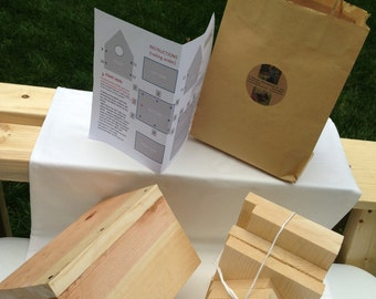 BIRDHOUSE KIT - Perfect gift bag! Precision cut pieces.  A child can build it. Great for Elderly family member. Birthday / Christmas gift;