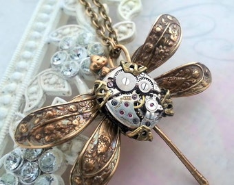 Steampunk necklace, steampunk dragonfly necklace, mechanical body, steampunk insect, steampunk jewelry, pendant, statement necklace, fantasy