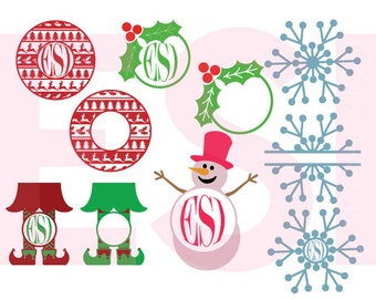 Christmas monogram svg, svg design set, Christmas svg, Ugly Sweater svg,  SVG, DXF, EPS,  for use with Silhouette Cameo and Cricut Explore.