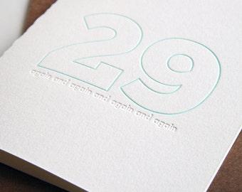 SALE Letterpress Birthday Card - 29 again