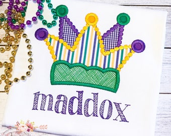 Personalized Mardi Gras Applique Shirt - Jester Hat