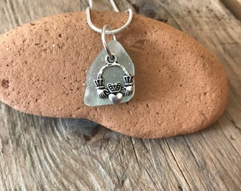 Seafoam  Irish Seaglass Claddagh  Charm  Necklace , 18 inch Silver Plated Snake Chain , Gift from Ireland , Handcrafted in Ireland