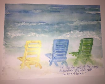 Watercolor Beach Chair Print