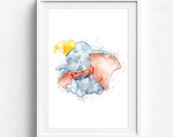 Dumbo Print, Nursery Printable Download, Watercolor Art Poster, Disney Wall Art Decor Dumbo Wall Art Print, Newborn Girl Nursery Decor Kids