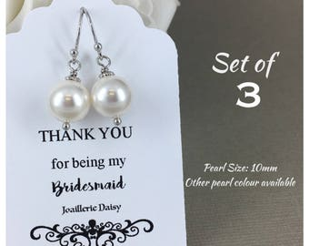 Set of 3 Bridesmaid Earrings Gift for Her Swarovski Earrings Mother of the Bride Gift Mother of Groom Gift Bridal Party Jewelry Wedding