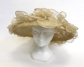 Vintage 1970s 1980s natural straw large brim hat