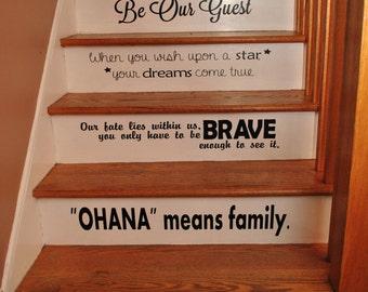 Disney Stair Quotes Disney steps Disney quotes vinyl quotes step quotes disney decor disney home disney lover disney home decor