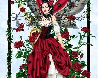 Ladybug Fairy Rose Garden - Fantasy Fine Art Print