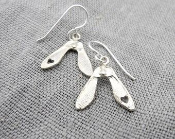 Small Double Love Samara Earrings - Dangle Helicopter Maple Seeds - Sterling Silver - Made to order