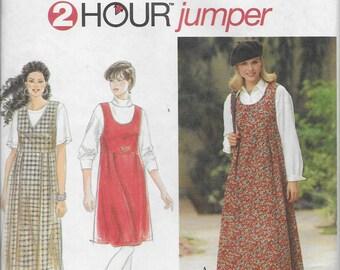 Vintage Pattern Women's Loose Fitting Dress / Jumper, Back Zipper,Raised Waistline-UNCUT -Simplicity 9755-Dated 1996- Size P 12 14 16