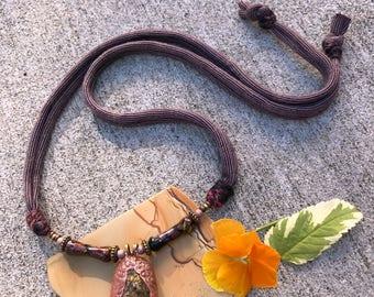 Pyrite Necklace, fiber and clay necklace, mixed media necklace, charm necklace,hippy necklace, neutral necklace, zen necklace zasra