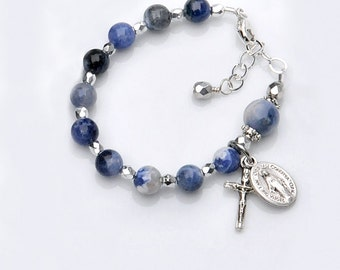 Baptism Bracelet for Baby Boy - Blue Sodalite Gemstone Rosary Bracelet -  Personalized Catholic Christening Baptism Gift for Baby Boy