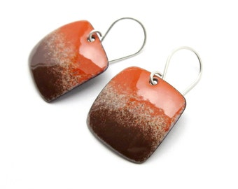 Brown and Red Dangle Earrings with Sterling Silver Earwires - Modern Enamel Jewelry - Birthday Gift for Women