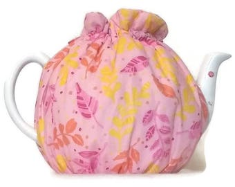 Teapot Cozy, quilted tea warmer with yellow, pink and orange leaves on  light pink for a 5-8 cup teapot #501