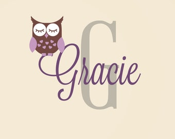 Owl Name Decal - Personalized Owl Decal - Children Nursery Baby Girls