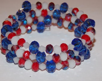 Red White and Blue Czech Glass Memory Wire Wrap Bracelet