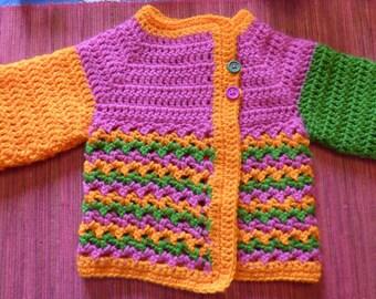 coat baby, three colors of PEP to crochet
