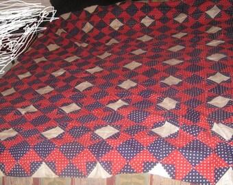 Antique Hand Stitched Star Pattern Quilt Top