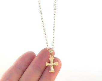 Vermeil Cross, Gold Cross Necklace, Cross Jewelry, Cross Pendant, Baptism Gift, Confirmation Gift, Elegant Cross, Faith Jewelry, Religious