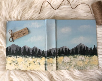 Custom Hand Painted Bible / Mountains & Fields