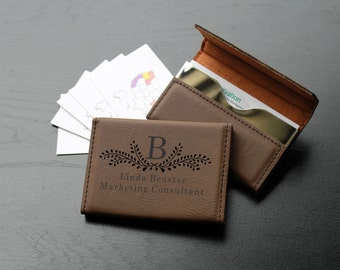 Personalized Business Card Holder, Custom Business Card Holder, Engraved Business Card Holder, Leather Business Card Holder --BCH-LDB-B